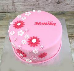 Torta s plochými kvetmi