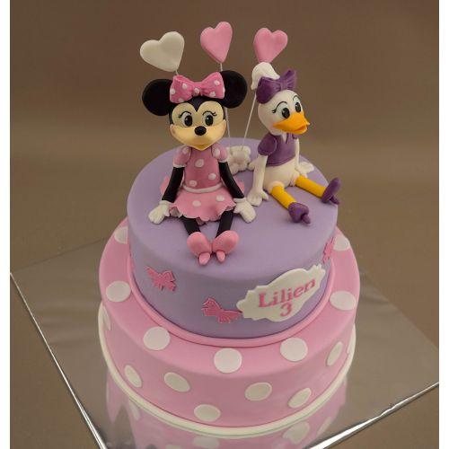Najnovšie torty » Torta Narodeninová torta s modelmi Minnie a Daisy