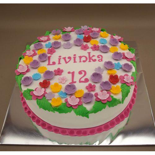 Najnovšie torty » Torta Narodeninová torta ploché kvety